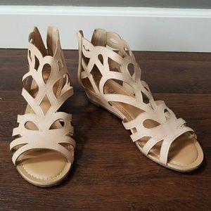 Esprit cutout low wedge gladiator zip sandals 9
